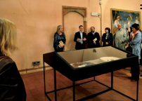 Da sinistra: Direttrice Museo di Pavia, Assessore alla cultura, Luca nicoletti, Gabriella Brembati, Stefano Soddu, Paola Grappiolo