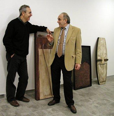 Durante l'allestimento: Antonio Pizzolante e Claudio Rizzi